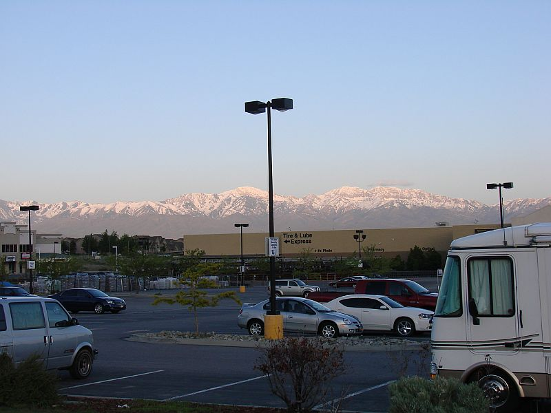 morning dawns at tooeles walmart blue sky mountains and no wind